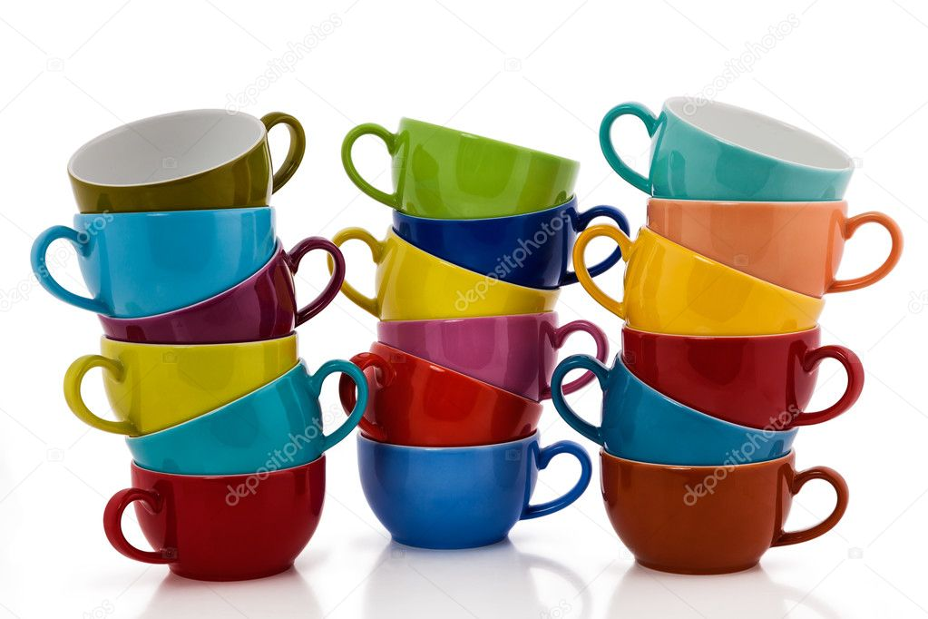 Multi Colored Coffee or Tea Cups  isolated on white — Stock Photo #11978026