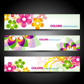Flower header set — Vettoriale Stock