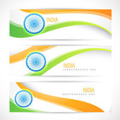 Creative indian flag headers — Vecteur
