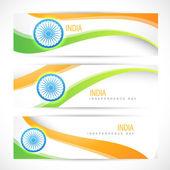 創造的なインドの旗ヘッダー — ストックベクタ