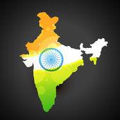 インドの旗の地図 — ストックベクタ