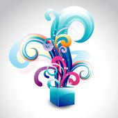 вектор красочные коробки с цветочным — Cтоковый вектор