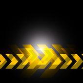 Yellow arrow in black background — Stock Vector