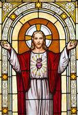 Jesus window painting in cemetery — Stock Photo
