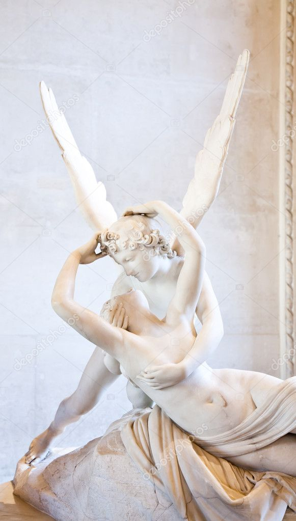 Antonio Canova's statue Psyche Revived by Cupid's Kiss, first commissioned in 1787, exemplifies the Neoclassical devotion to love and emotion — Stock Photo #11539689
