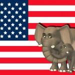 republikánský slon rodina — Stock fotografie
