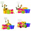 Stock Photo: Christmas Elf with Signs and Presents Pack