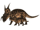 Adult and Young Einiosaurus — Stock Photo