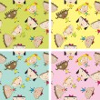 Set of children pattern with kids - Stock Photo