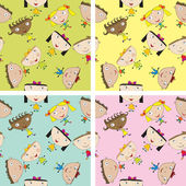 Set of children pattern with kids — Stock Photo