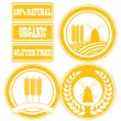 Stock Photo: Food orange rubber stamps labels collection for whole grain cere