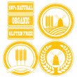 Food orange rubber stamps labels collection for whole grain cere — Stock Photo