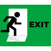 Green emergency exit sign icon — Stock Photo
