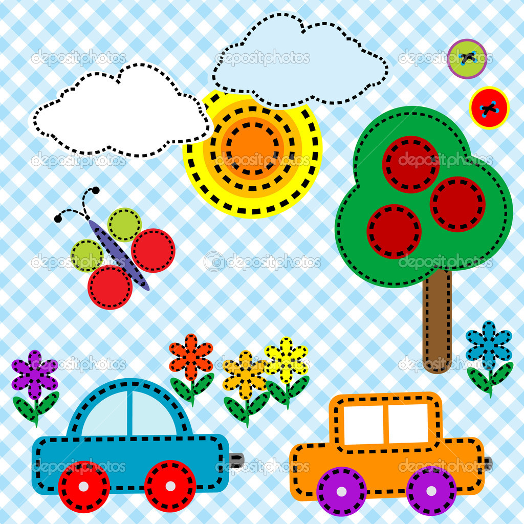 Sewing background fabric for kids stock photo for Childrens material