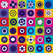 Stock Photo: Seamless colored pattern with different kind of flowers