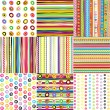 Set of doted and striped backgrounds for kids — 图库照片