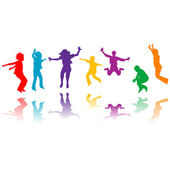 Group of hand drawn children silhouettes jumping — Stock Photo