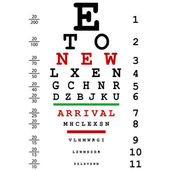 New arrival advertising with optical eye test used by doctors — Stock Photo