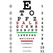 Sales advertising with optical eye test used by doctors — Stock Photo