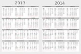 Set of 2013 and 2014 Calendar for your notebook — Stock Photo