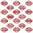 Set of rubber stamps with negative emotions — Stock Photo