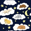 Night sky background with sleeping cute cartoon animals — Stock Photo