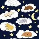 Night sky background with sleeping cute cartoon animals — Stock Photo