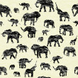 Stock Photo: Grunge backgorund with elephants silhouettes