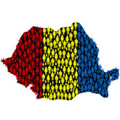 Romania's map with Romania's flag made of — Stock Photo