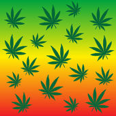 Rastafarian background with marijuana leaves — Stock Photo