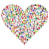 любовь концепции; сердце из. изготовлены из всех флагов — Стоковое фото