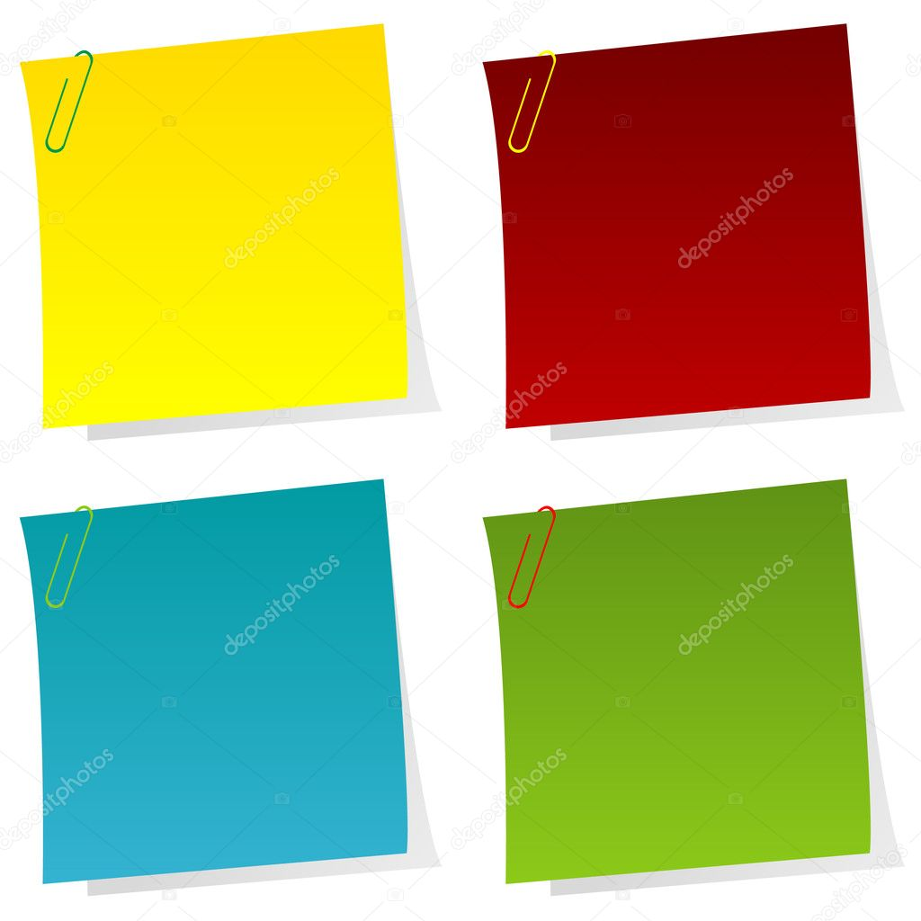 Set of post it notes with paperclips — Stock Photo #11437525