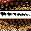African background made of ethnic motifs and elephants silhouett - Stock Photo