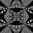 Stock Photo: Black and white kaleidoscope background made of circles and dots