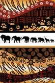 African background made of ethnic motifs and elephants silhouett — Stock Photo