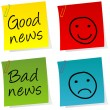 Good news and bad news post it — Stock Photo