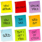 Sale announcements, set of post it — Stock Photo
