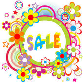 Sale advertisement with circles and flowers — Stock Photo