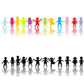 Happy children silhouettes — Stock Photo