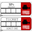 Sale voucher and entrance ticket for cinema movie — Stockfoto