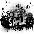 Grunge sale advertisement with circles and spots — Stock Photo