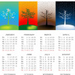 2013 Calendar with tree in all the seasons — Stock Photo