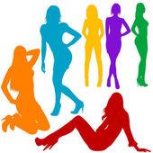 Las mujeres atractivas siluetas dibujadas a mano — Foto de Stock