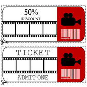 Sale voucher and entrance ticket for cinema movie — Stock Photo
