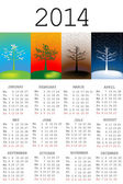 2014 Calendar with tree in all the seasons — Stock Photo