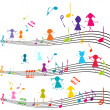 Stock Photo: Music note with kids playing with musical notes