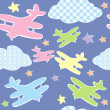 Stock Photo: Background for kids with toy planes