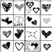 Valentine's Day background with stylized black hearts — Stockfoto