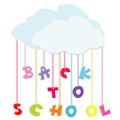 Back to school illustration with colored letters and clouds — Stock Photo