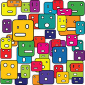 Abstract squares with facial expressions — Stock Photo